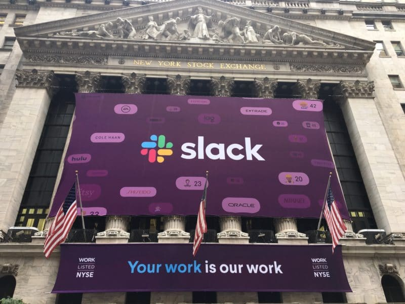NEW YORK CITY - JUNE 21, 2019: Slack Technologies Inc. (NYSE: WORK) initial public offering IPO with direct listing on New York Stock Exchange. Stewart Butterfield CEO. Workplace collaboration SAAS software